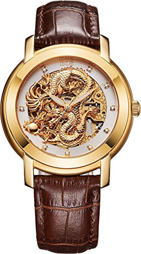 BOS Men's 'Chinese Dragon Collection 'Gold Dial Calfskin Band Automatic Mechanical Wrist Watch 9007 from BOS