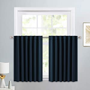 PONY DANCE Window Covering Tiers - Decorative Rod Pocket Curtains Energy Saving Small Valances for Kitchen/Match with Drapes Set, 52 W x 36 L inches, Navy Blue, Pack-2