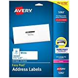 Avery Address Labels with Sure Feed for Laser Printers, 1-1/3' x 4', 350 Labels, Permanent Adhesive (5262), White