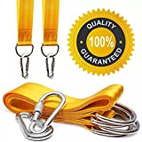 QEES Safety Tree Swing Straps Hanging Rope Kit (Set of 2) 5ft Long Strap with 2 Zinc Alloy Carabiners 800KG/1764Lbs Break Strength for Kids Swing Sets, Hammock, Web & Tire Swings DS12 (yellow)