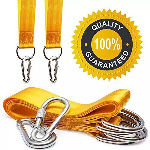 QEES Safety Tree Swing Straps Hanging Rope Kit (Set of 2) 5ft Long Strap with 2 Zinc Alloy Carabiners 800KG/1764Lbs Break Strength for Kids Swing Sets, Hammock, Web & Tire Swings DS12 (yellow) by QEES