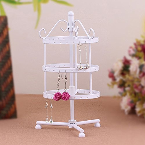 SF- World 3-Tier 72 Holes Round Shaped Rotating Earrings Jewellery Metal Display Stand Rack Holder (White) sf-world