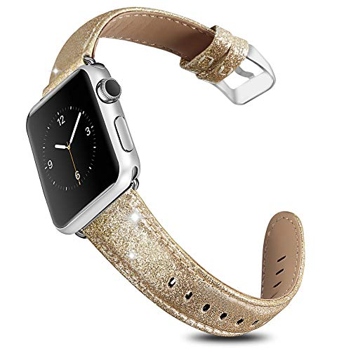 UMAXGET Compatible Apple Watch Band 42/44MM, Genuine Leather Bling Wristband Shiny Strap for Apple Watch Series 4/3/2/1, Iwatch Shiny - Genuine Bling