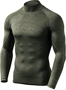 CQ-HUT302-TGN_Medium CQR Men's Thermal Wintergear Compression Baselayer Mock Long Sleeve Shirt HUT302