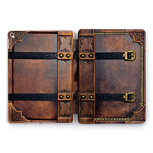 Wonder Wild Vintage Book Apple iPad Pro Case 9.7 11 inch Mini 1 2 3 4 Air 2 10.5 12.9 2018 2017 Design 5th 6th Gen Clear Smart Hard Cover Retro Leather Print Antique Old Tracery Rivets Stamping Art