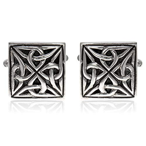 Sterling Silver Celtic Oxidised Square Cufflinks with Presentation Gift Box. Great gift for a man on a birthday or…