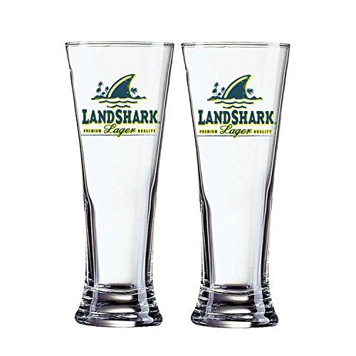 Landshark Lager 2-Pack Pilsner Glass, (Shark Glass Pilsner Glass)