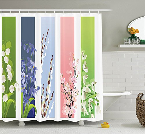 [Flower Decor Shower Curtain Set Illustration of Spring Flowers on Different Backgrounds Lily Valley Primrose Floral Home Decor Bathroom Accessories] (Primrose Halloween Costume)