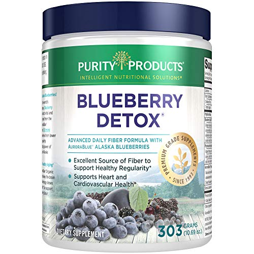 Advanced Blueberry Detox Daily Fiber Formula by Purity Products - Featuring AuroraBlue Organic Alaskan Blueberries - A Full 6 Grams of Detoxifying, Regularity Promoting Prebiotic Fiber - 30 Servings