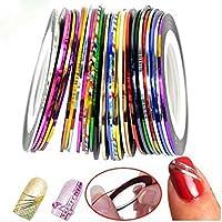 UNKE 10pcs Mixed Colors Rolls Striping Tape Line Nail Art Tips Decoration Sticker DIY Kit