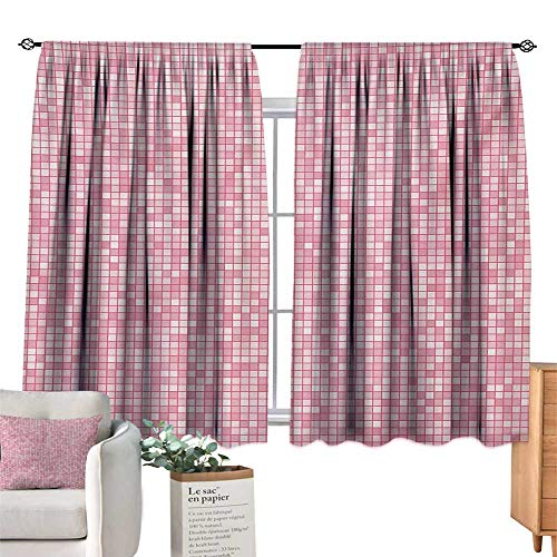 (Ediyuneth Yellow Curtains Pink and White,Gingham Style Mosaic Tile in Pink Color Shades Modern Grid with Small Squares,Pale Pink 84