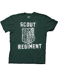 Attack On Titan Splatter Paint Scout Regiment Mens Green T-Shirt | S