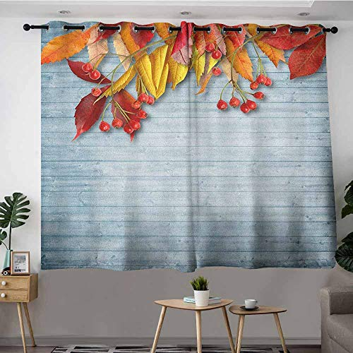 VIVIDX Grommet Window Curtains,Rowan Vintage Autumn Composition with Dried Rowan Leaves Berries on Wooden Planks,Room Darkening, Noise Reducing,W55x72L Baby Blue Red Yellow ()