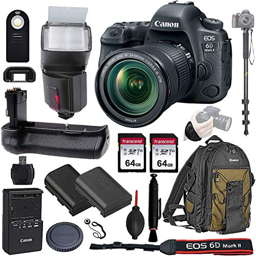 Canon EOS 6D Mark II Wi-Fi DSLR Camera Body with EF 24-105mmF3.5-5.6 IS STM Lens - Pro Battery Grip, TTL Flash, Canon Pro Backpack, 128GB Memory, LP-E6N Replacement Battery, 72