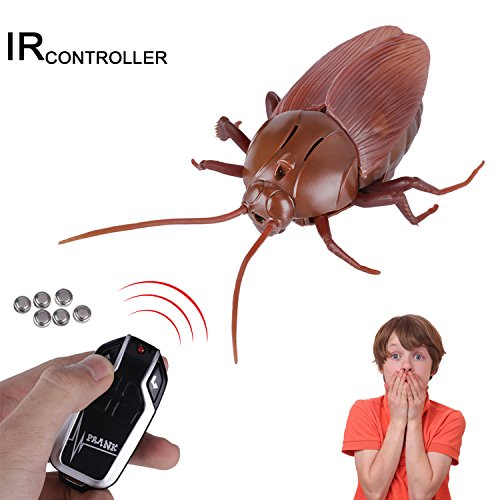 Upgraded RC Cockroach Toy, Giveme5 Infrared Remote Control Mock Fake Giant Cockroach RC Toy Model Prank Insects Joke Scary Trick Bugs for Party -