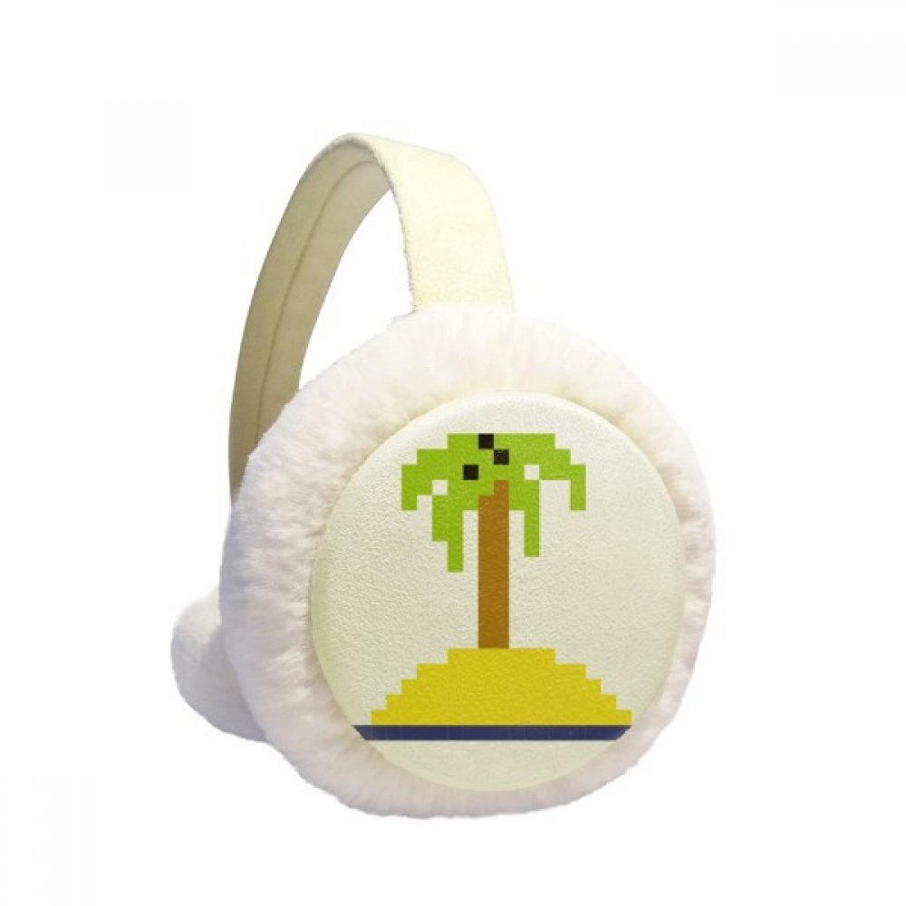 Summer Sail Coconut Tree Pixel Winter Earmuffs Ear Warmers Faux Fur Foldable Plush Outdoor Gift