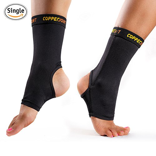CopperJoint Compression Ankle Sleeve #1 Plantar Fasciitis Sock - GUARANTEED Recovery Brace - Copper Infused Arch Support, Wear Anywhere - Small - Single Sock