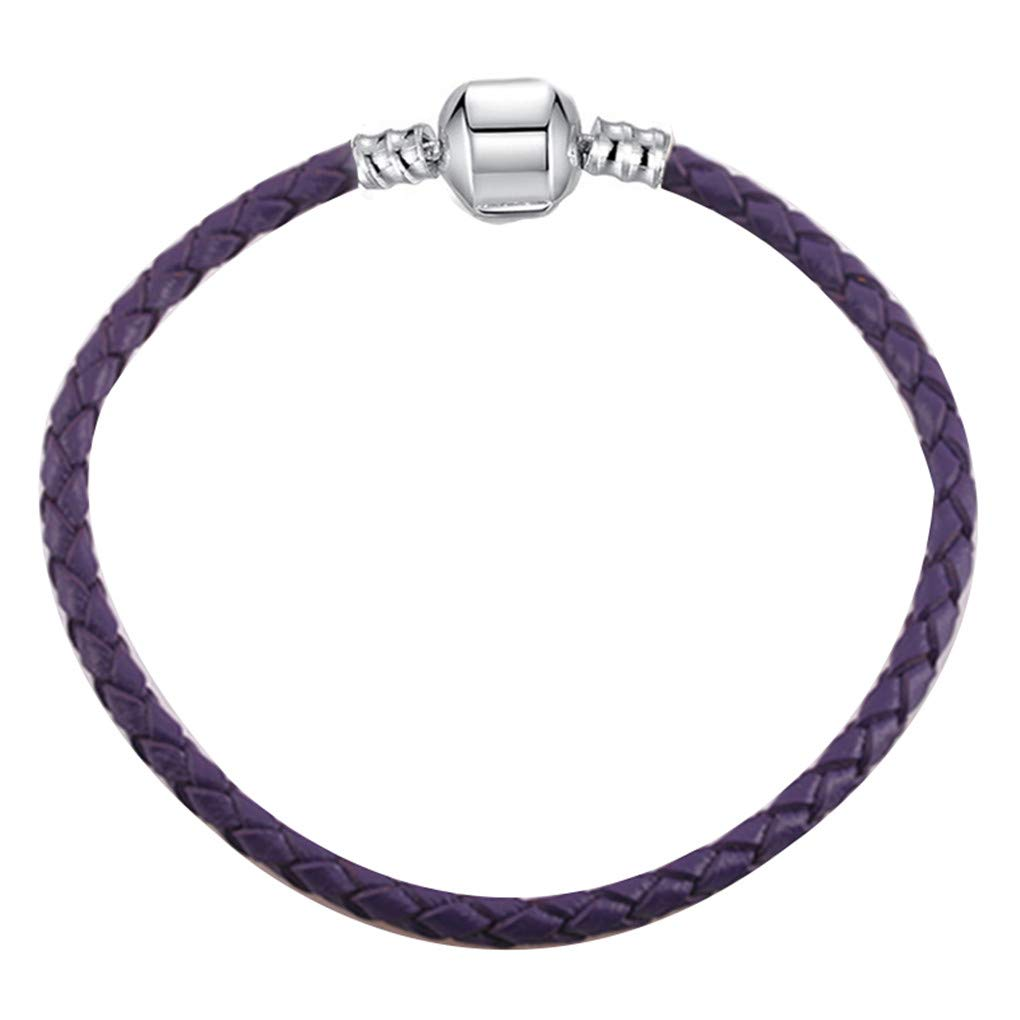 DARLING HER 9 Colors Leather Chain Charm Bracelets with DIY Fine Bracelet for Women Girls Jewelry Gift Purple 17cm