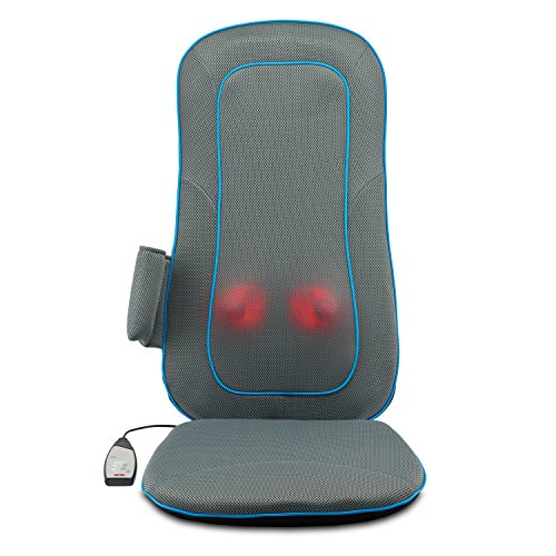 Moderntherapy Full-Back Shiatsu Massage Cushion with Quad Heads, Heat Therapy, Vibration, and Home and Car Adapters