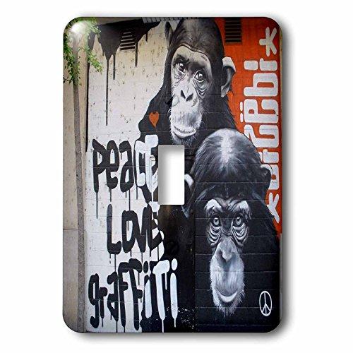 Spiritual Awakenings-Graffiti - Graffiti wall art with two monkeys for peace and love - Light Switch Covers - single toggle switch (lsp_167127_1)