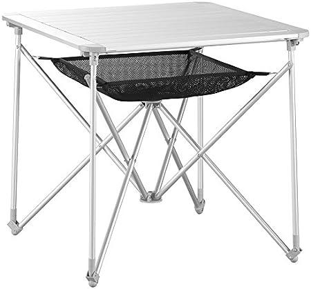 Uquip Mercy - Mesa camping plegable de aluminio para 4 personas - bolsa de red porta objetos