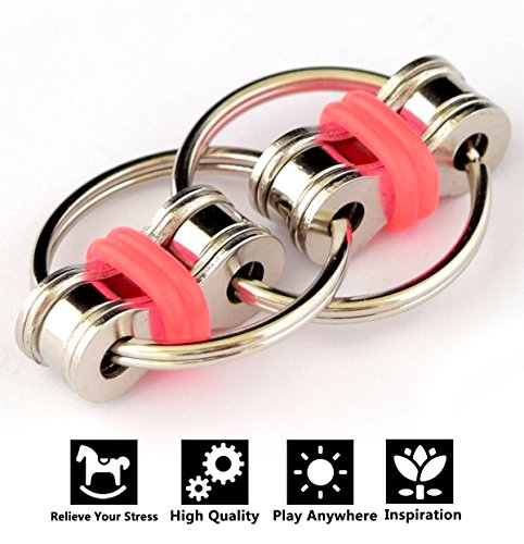 Flippy Chain Fidget Toy Stress Idle Hands Relieve Stress Reducer for Autism ADD, ADHD, Anxiety (Red)