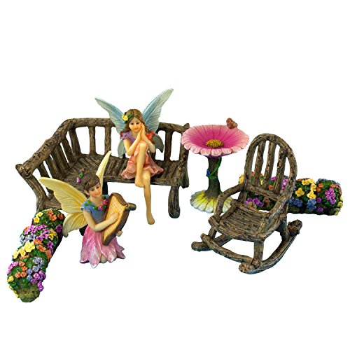 Fairy Garden Fairies – Miniature Accessories & Furniture – 7 Pieces – Supplies by Pretmanns