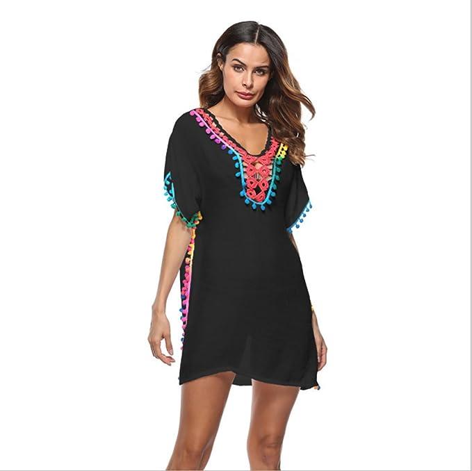 6784c0d8761 Teamo Women's Sexy Beach Dress Bikini Cover up Tassel Gradient Print Kaftan  Swimsuit Loose Blouse (