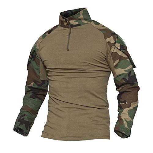 MAGCOMSEN Tactical Airsoft Camo Combat Slim Fit Shirt Long Sleeve with Zipper (Woodland Camo Bdu Shirt)