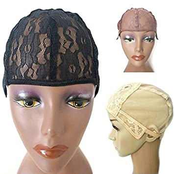 Fashion Style 1 Pcs Double Lace Wig Caps For Making Wigs And Hair Weaving Stretch Adjustable Wig Cap Hot Black Dome Cap For Wig Hair Net Tools & Accessories Hairnets