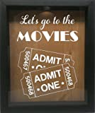 Wicked Good Decor Wooden Shadow Box Wine Cork/Bottle Cap Holder 9x11 - Let's Go To The Movies (Ebony w/White)