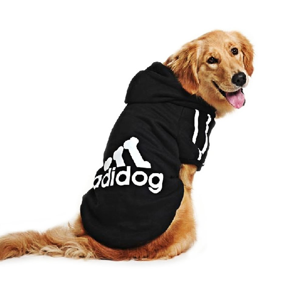 Eastlion adidog Large Dog Warm Hoodies Coat Clothes Sweater Pet Puppy T Shirt Black 5XL