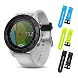 Garmin Approach S60 White GPS Golf Watch 010-01702-01 and Three Additional Wearable4U Quick Release Silicone Watch Bands