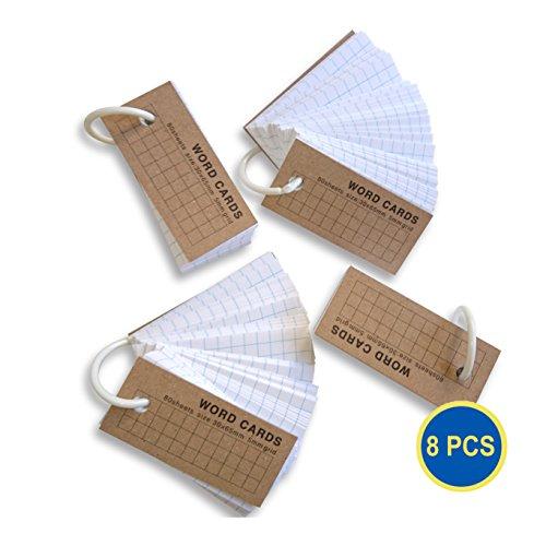 Gadget. Cool 8pcs Pack de 8 Rejilla de mini Compact Flash Card cartón Note palabra Tarjetas Pad Deportivas desmontable Anillo Deck Stationery (640 cuenta)