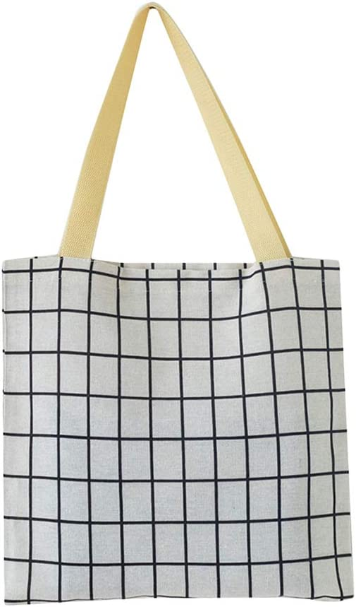 Bolsa de la compra portátil de lona de lino, ecológica, reutilizable, bolsa de almacenamiento lavable (rejillas blancas): Amazon.es: Amazon.es
