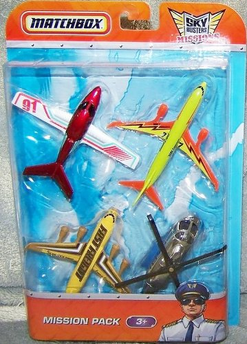Matchbox Sky Busters Mission Pack - 4 Aircraft -Cirrus Vision - Boeing 737-800 - Fast Freight - Mission Chopper