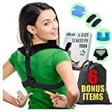 Posture Corrector - Upper Back and Neck Support for Natural Pain Relief for Men and Women. Includes Bonus Self Heating Neck Wrap, Travel Pillow, Resistance Band, Extra Pads and Travel Bag (Black)