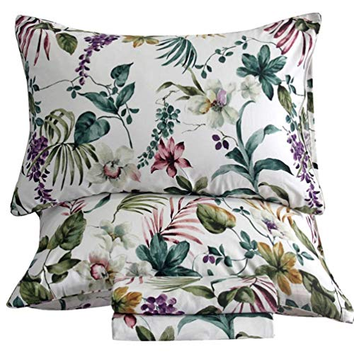 SexyTown Egyptian Cotton Sheets Botanical Floral Flowers Pattern Printed, Floral Bed Sheet Set 4-Piece (Queen, Pattern - Queen Separates Sheet