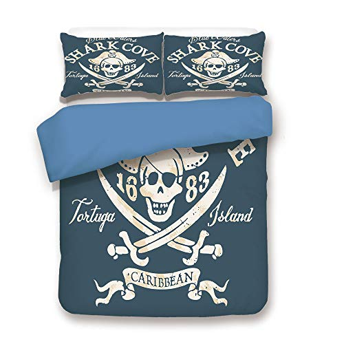 et,Blue Back,Pirate,Shark Cove Tortuga Island Caribbean Waters Retro Jolly Roger,Slate Blue White Light Mustard,Decorative 3 Pcs Bedding Set by 2 Pillow Shams,Full Size ()