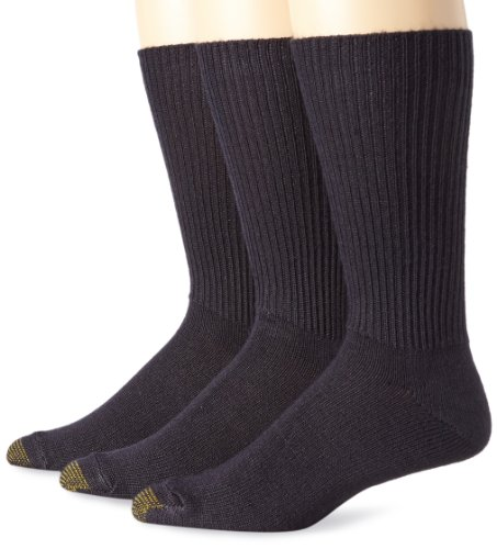 Gold Toe Men's Fluffies Sock, 3 Pack Extended, Navy, Size