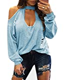 YOINS Women Sexy Cold Shoulder Plunge Neck Ripped Long Sleeves Top Light Blue M