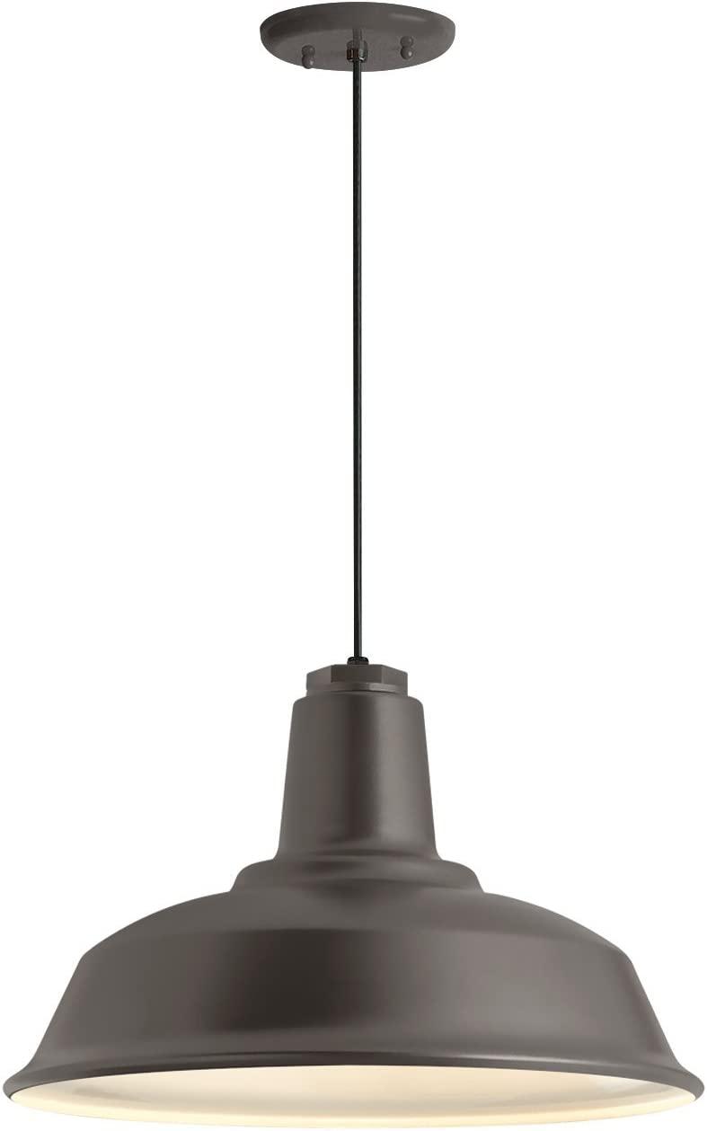 Troy RLM 5DRH16MTBZ-BC Bryson Heavy Duty Outdoor Pendant-16in Textured Bronze-Gloss White Lens, 16 Shade
