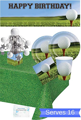 Golf Party Supplies and Decorations - Golf Plates Cups Napkins for 16 People - Includes Banner, Tablecloth and Centerpiece - Perfect Golf Birthday Party Decorations! ()