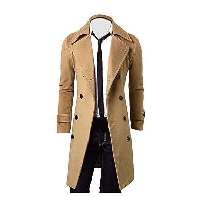 455393c226e9 BHYDRY Fashion Winter Men Slim Stylish Trench Coat Double Breasted Long  Jacket Cotton Parka Solid Outwear (XXL,Khaki): Amazon.co.uk: Clothing