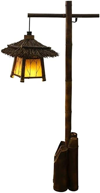 Lámparas de pie Lámpara de pie retro estilo japonés de bambú Luz de suelo for jardín