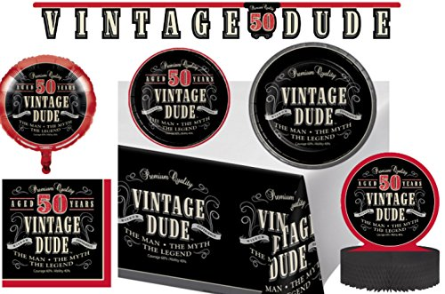 Vintage Dude 50th Birthday Party Supplies & Decorations Pack! Bundle Includes Dinner Plates, Dessert Plates, Napkins for 8 Guests Plus a Centerpiece, Jointed Banner, 18 Balloon, & Table Cover -