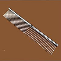 SUMCOO Stainless Steel Pet Dog & Cat Shedding Comb and Grooming Comb with Different Spaced Rounded Teeth,Wide Trimmer Comb.