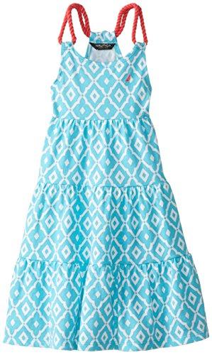 Nautica Little Girls' Jersey Printed Tier Dress, El Aqua, 3T