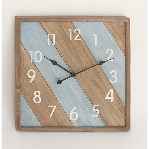 Benzara Wood Square Metal Wall Clock