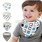 Mamito Bandana Baby Bibs 4-Pack, Absorbent Unisex Cotton baby Bib, Soft & Adjustable